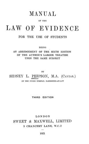 Download Manual of the law of evidence, for the use of students