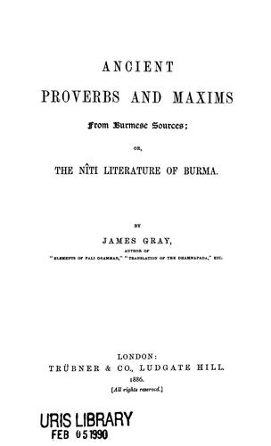 Download Ancient proverbs and maxims from Burmese sources