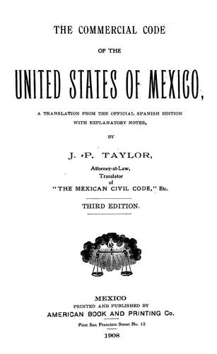Download The Commercial code of the united states of Mexico