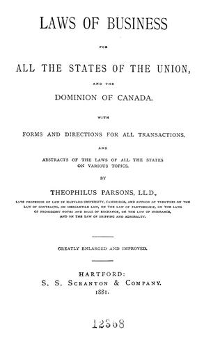 Download Laws of business for all the states of the Union and the Dominion of Canada