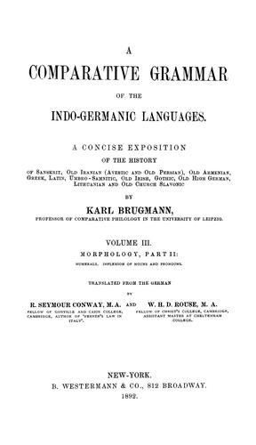 Elements of the comparative grammar of the Indo-Germanic languages.