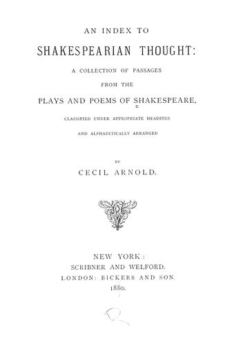 Download An index to Shakespearian thought