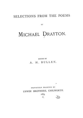 Selections from the poems of Michael Drayton