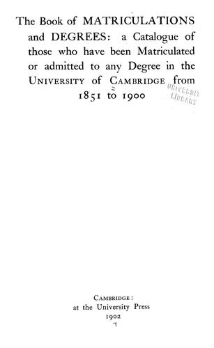 Download The book of matriculations and degrees