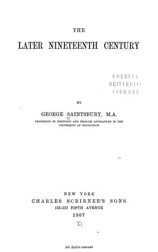 Download The later nineteenth century