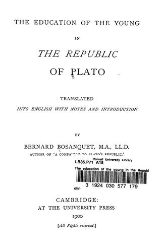The education of the young in the Republic of Plato