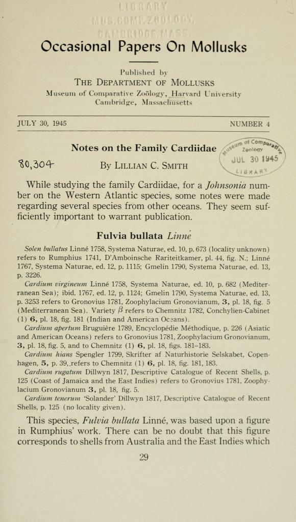 Notes on the family Cardiidae