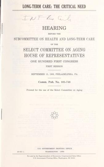 Long-term care by United States. Congress. House. Select Committee on Aging. Subcommittee on Health and Long-Term Care.