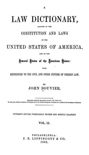 A law dictionary by Bouvier, John