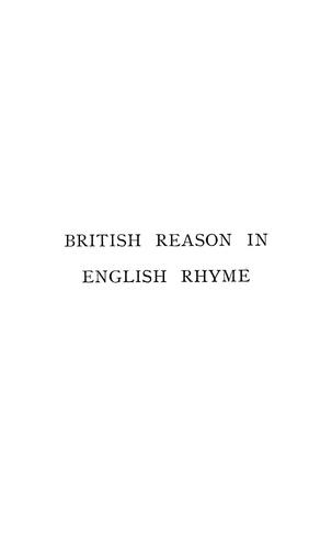 British reason in English rhyme by Henry Halford Vaughan