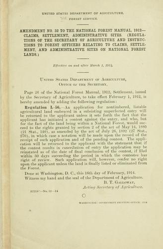 Amendment no. to the National forest manual, 1912 by United States. Forest Service.